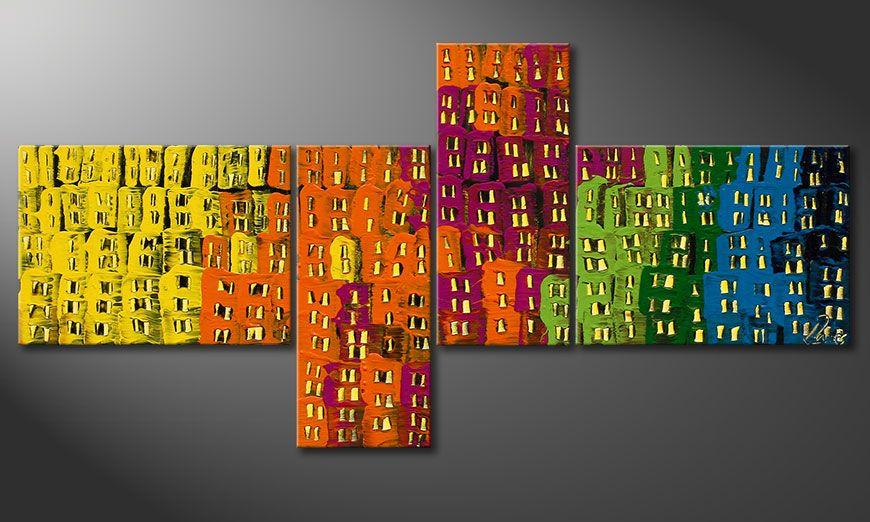 Das Deko Wandbild Crazy Town 120x60x2cm
