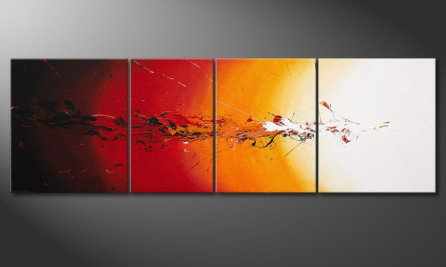 Das Keilrahmen-Bild Fiery Splash 250x80x2cm