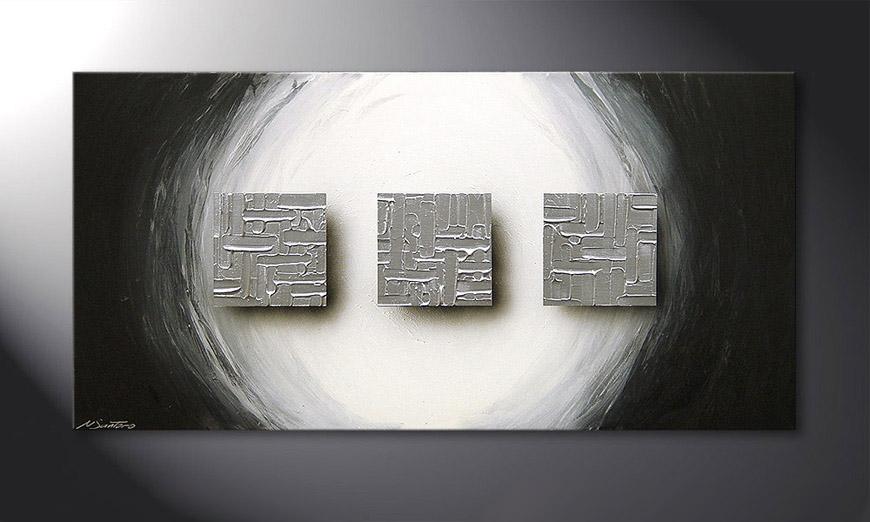 Das Wandbild Cubes of Silver 120x60x2cm