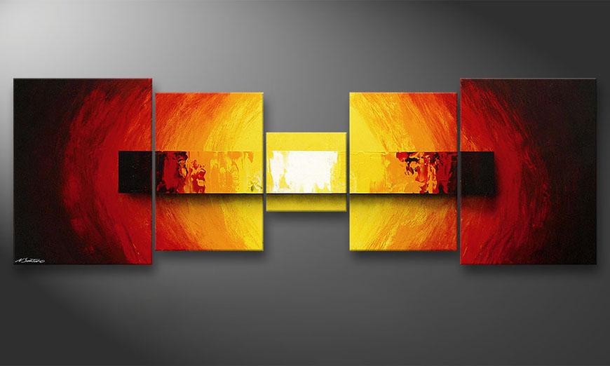 Das Wandbild Fire Bloc in 210x70x2cm