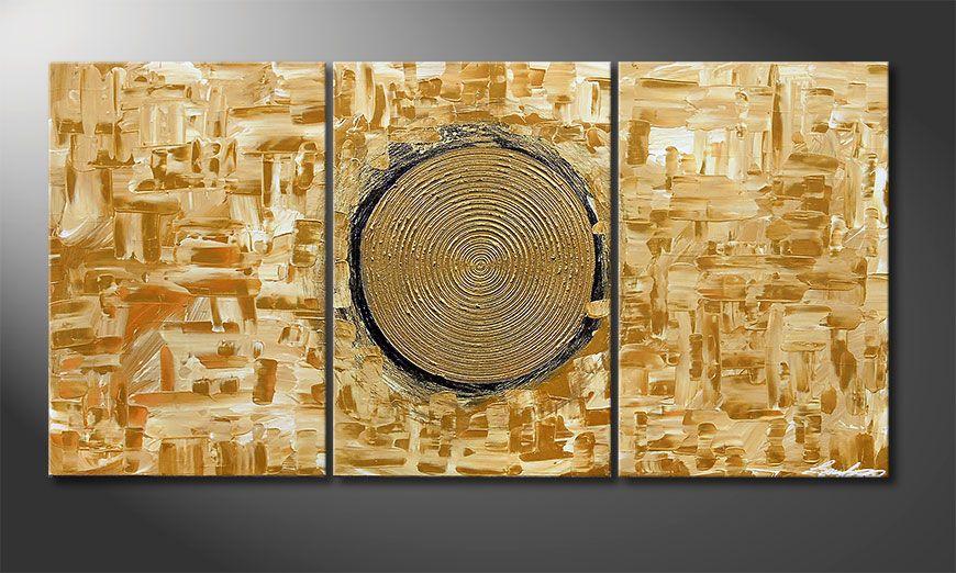 Das Wandbild Golden Sun 120x60x2cm