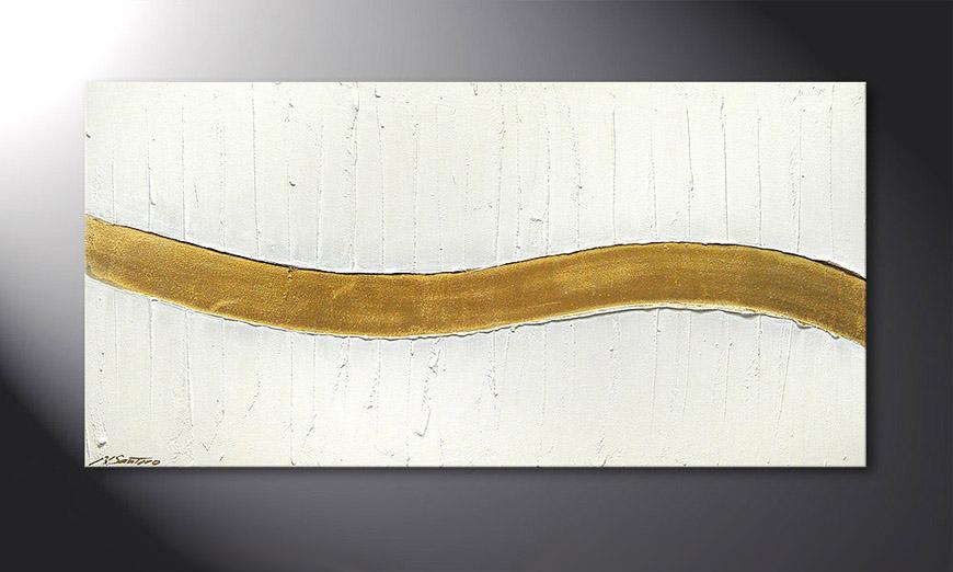 Das Wandbild Golden Wave 120x60x2cm