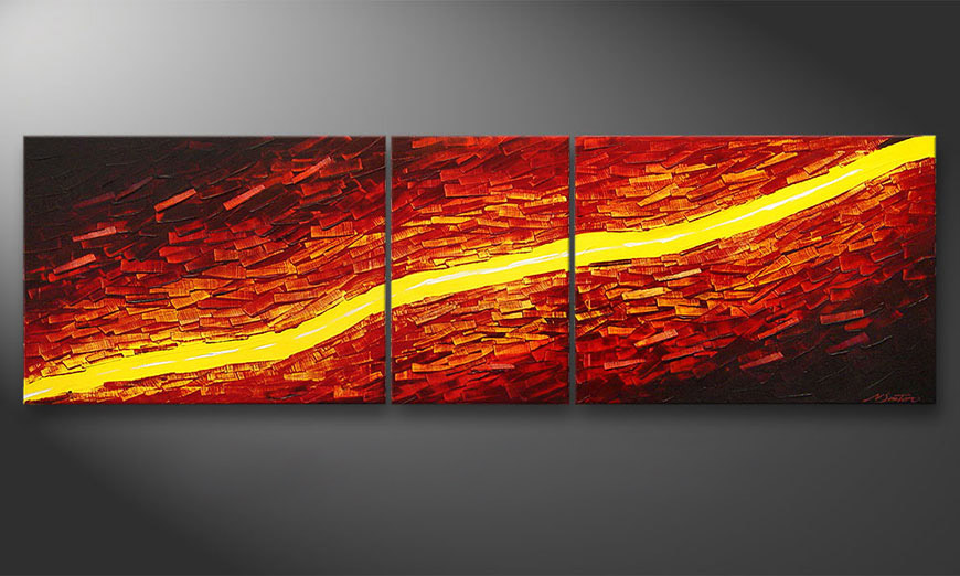 Das Wandbild Lava Stream in 200x60x2cm