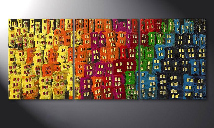 Das Wohnzimmer Bild Afterglowing City in 120x50x2cm