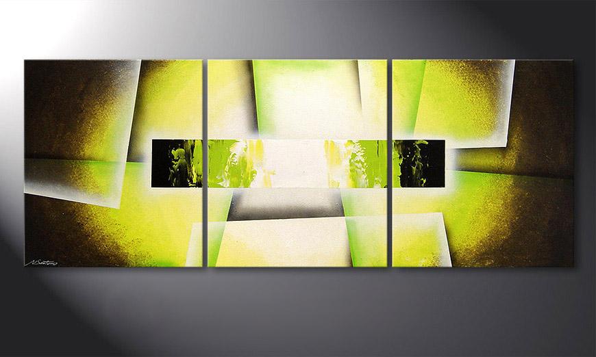 Das Wohnzimmer Bild Broken Green 180x70x2cm