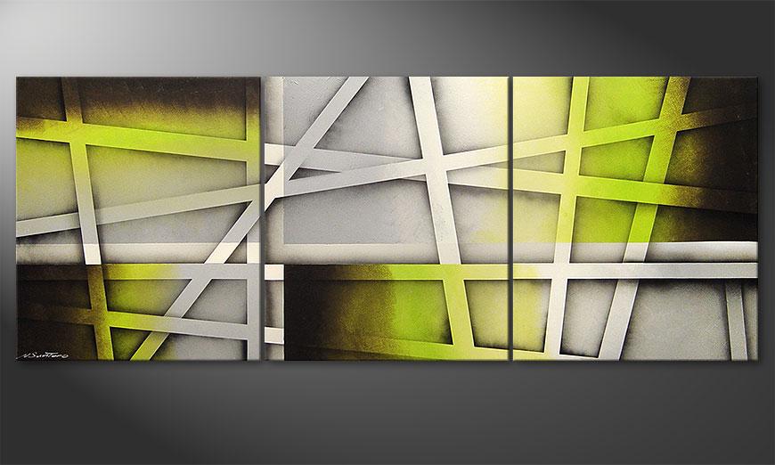 Das Wohnzimmer Bild Vivid Green 180x70x2cm