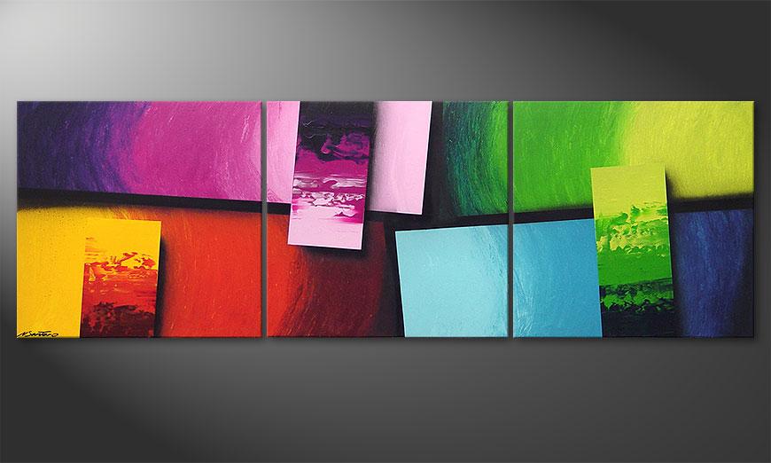 Das Wohnzimmerbild Squaring of Colors 210x70x2cm