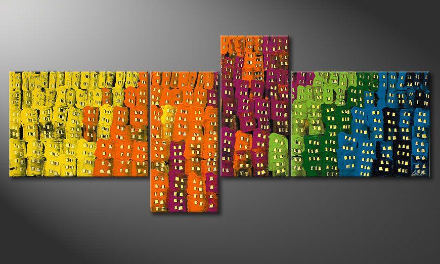 Das großformatrige Bild Crazy Town 240x100x2cm