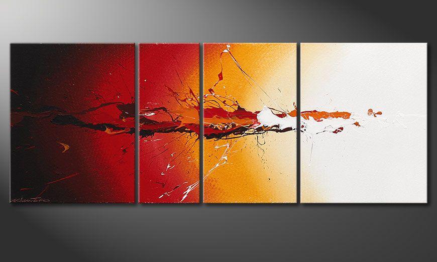 Das handgemalte Bild Fiery Splash 130x50x2cm