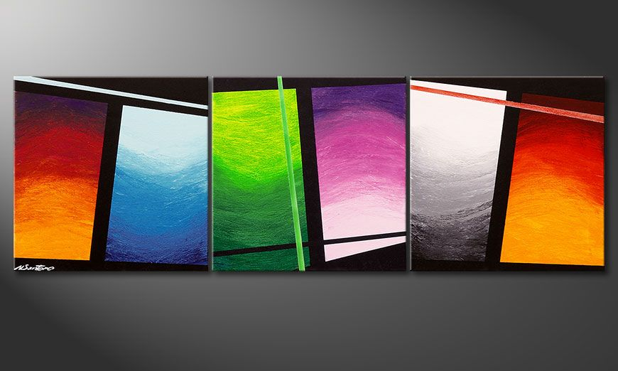 Das handgemalte Bild Wave of Colors 150x50x2cm