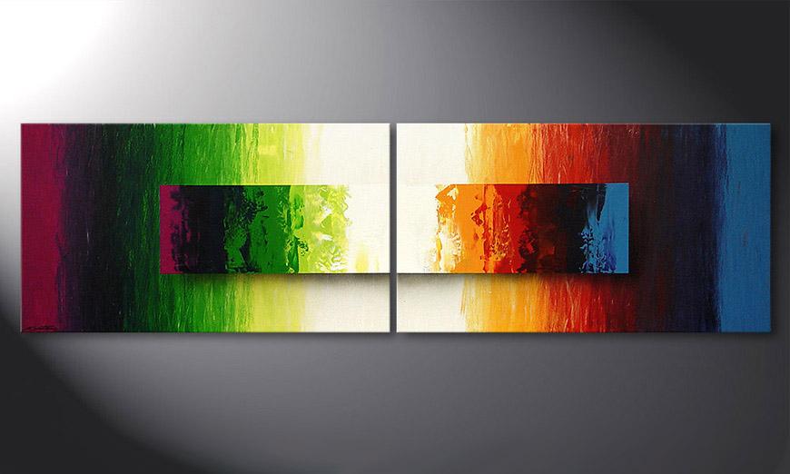 Das moderne Wandbild Battle of Colours 200x60x2cm