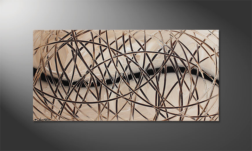Das  Acrylbild Desert Traces 120x60x2cm