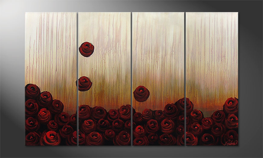 Das Wandbild Bed of Roses 160x100x2cm