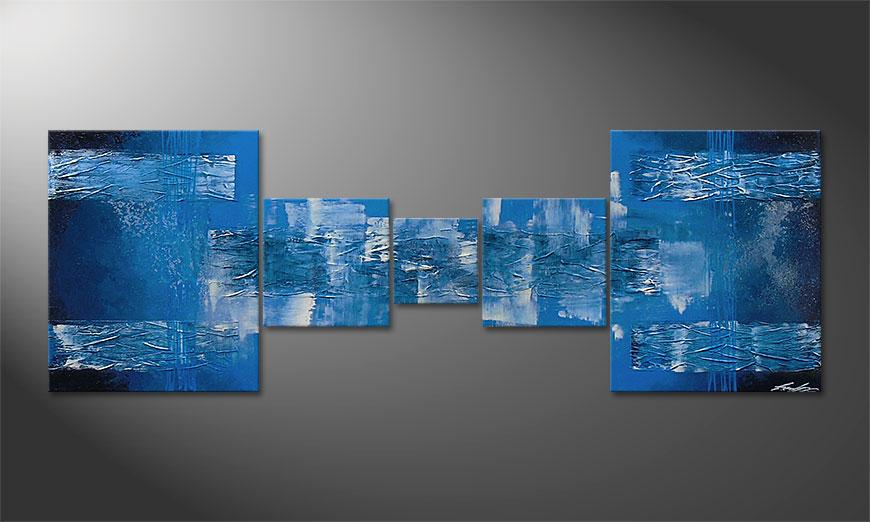 Das Wandbild Blue Waves 180x60x2cm