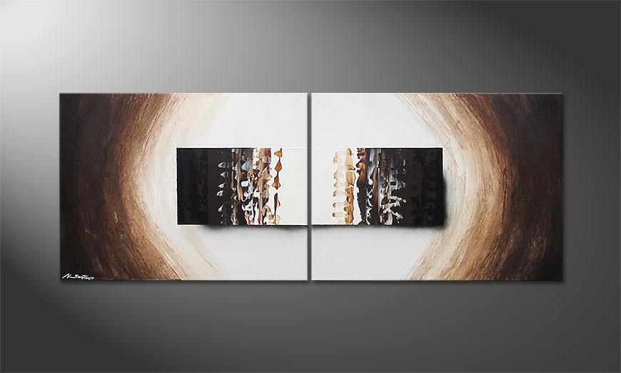 Das Wandbild Enlightened Earth in 160x60x2cm