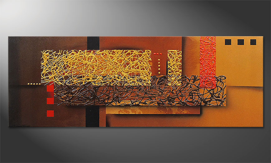 Das Wandbild Liquid Gold in 150x55x2cm
