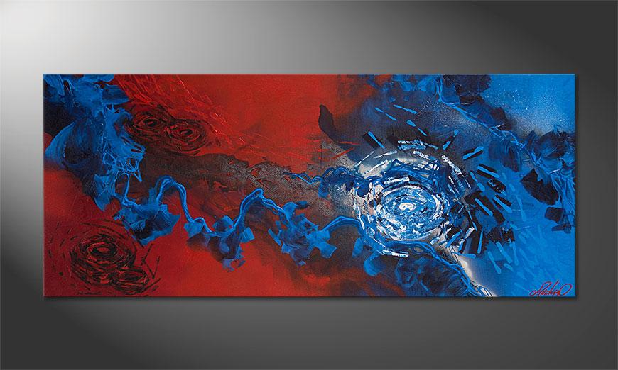 Modernes Bild Frozen Rose 140x60x2cm