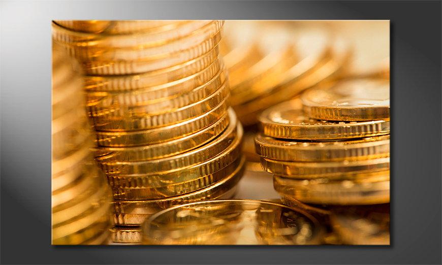 Das Leinwandbild Gold Coins