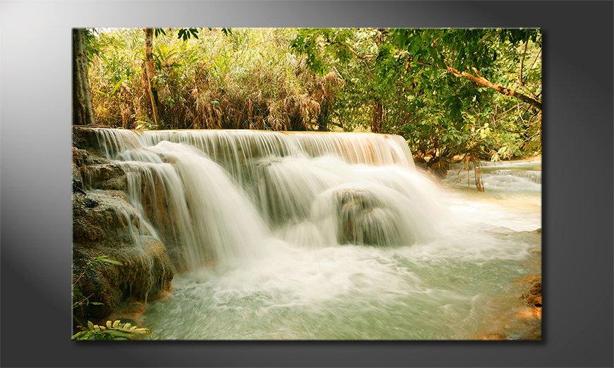Das Leinwandbild Jungle Waterfall
