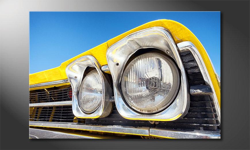 Das Leinwandbild Oldtimer Headlights