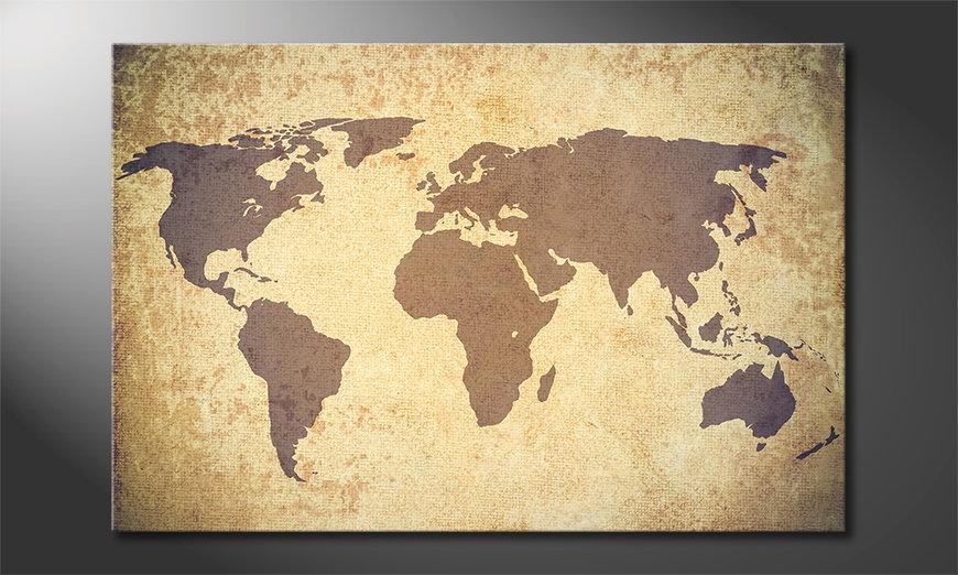 Das Wandbild Worldmap Vintage
