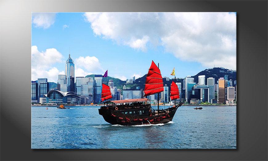 Das gedruckte Bild Hongkong Boat