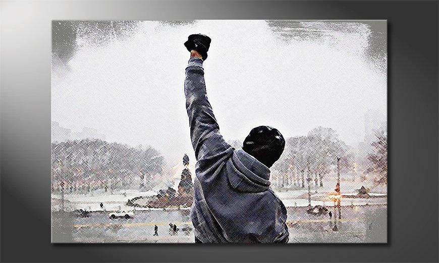 Das gedruckte Wandbild Rocky Moment