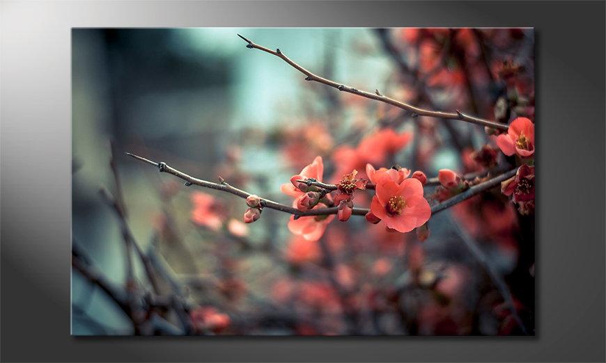 Das moderne Wandbild Red Blossoms