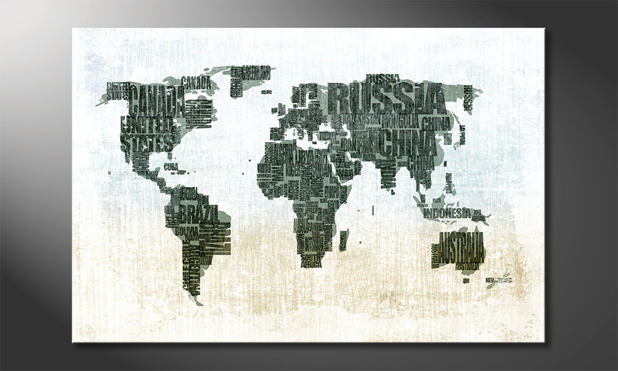 Das moderne Wandbild Weltkarte Nr1