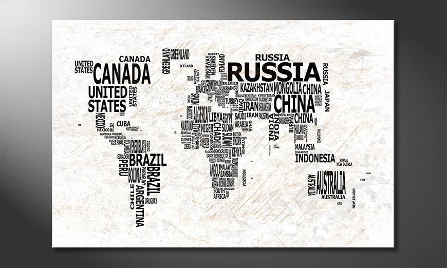 Das moderne Wandbild Weltkarte Nr21