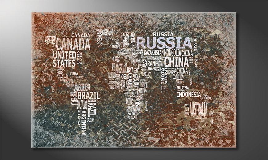 Das moderne Wandbild Weltkarte Nr8