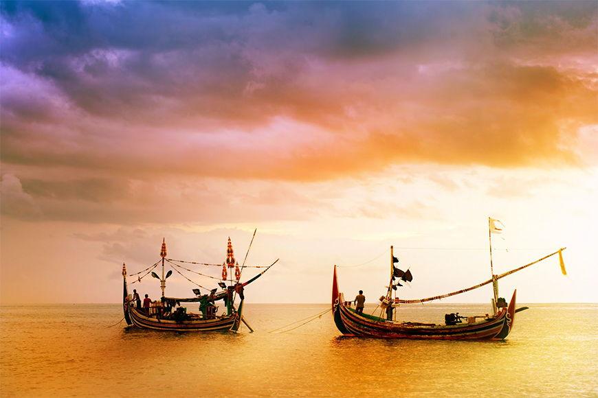 Foto-Tapete Fischerboote in 6 Größen