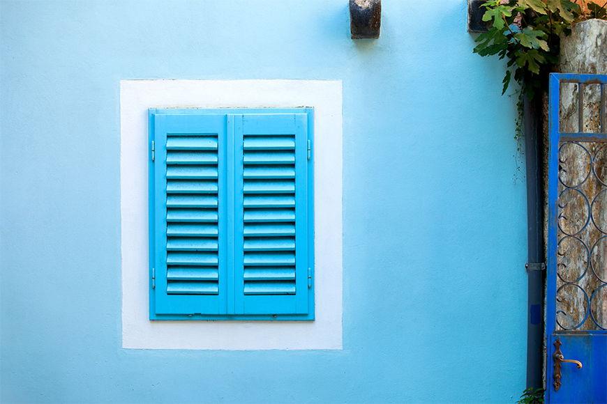 Fototapete Old Blue Window in S bis XXL