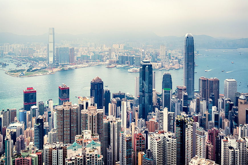 Vliestapete Hongkong Skyline ab 120x80cm